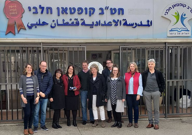 Bavarian teachers stand in front of Druze School